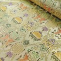 Brocade Chinese Traditional Style Embroidered Silky Satin Fabric Gold