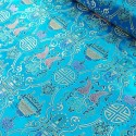 Brocade Chinese Traditional Style Embroidered Silky Satin Fabric Kingfisher