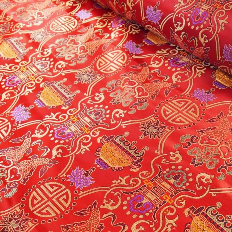 Brocade Chinese Traditional Style Embroidered Silky Satin Fabric Red