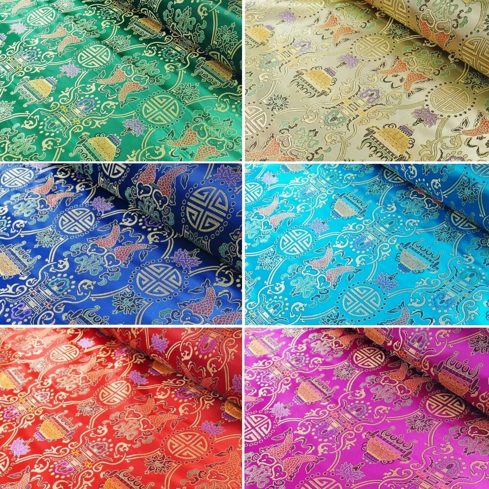 Brocade Chinese Traditional Style Embroidered Silky Satin Fabric Royal Blue