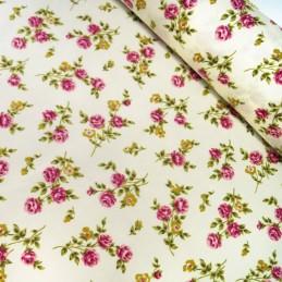 100% Cotton Poplin Fabric Rose & Hubble Rosie Cozy Peonies Floral Flower Cream