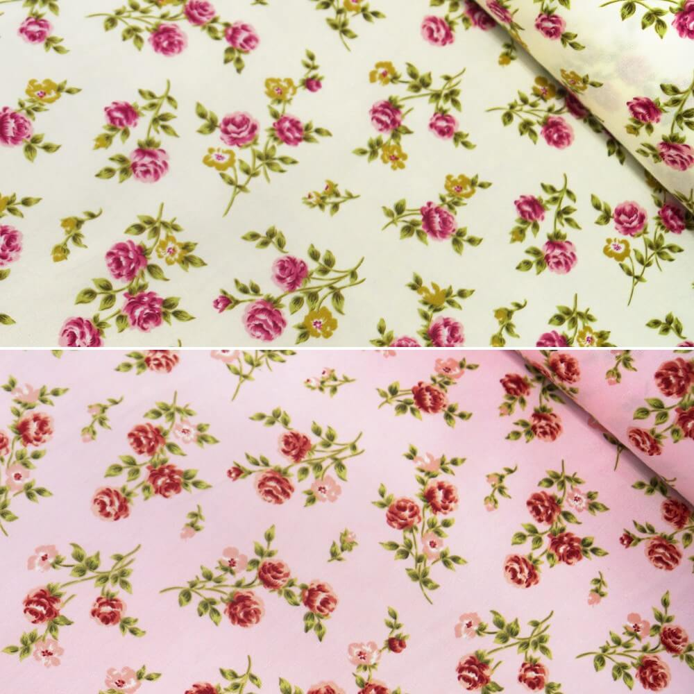 100% Cotton Poplin Fabric Rose & Hubble Rosie Cozy Peonies Floral Flower Cream
