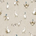Cotton Rich Linen Fabric Curtain & Upholstery Shabby Ducks