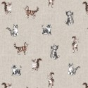 Cotton Rich Linen Fabric Curtain & Upholstery Shabby Cats
