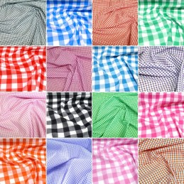 "Polycotton Fabric 1/8"" 1/4"" 1"" Gingham Check Dress Craft School Summer"