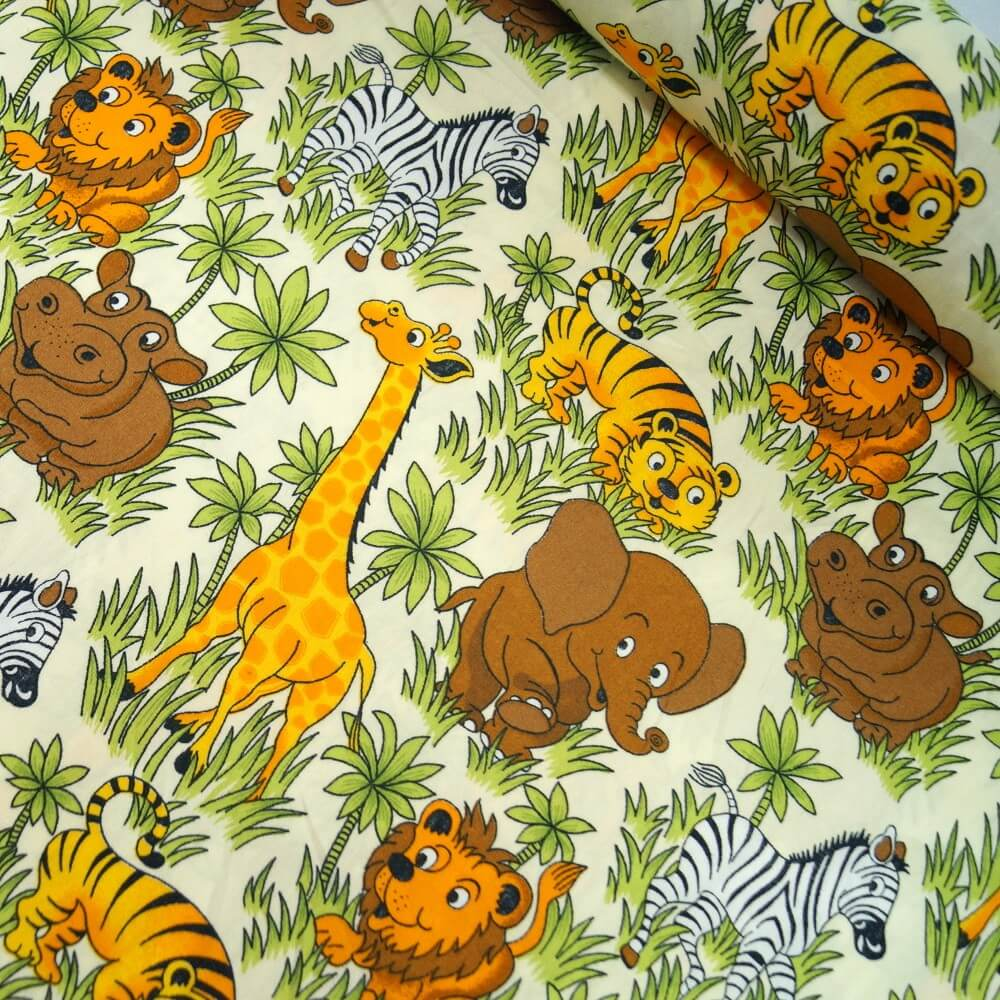 100% Cotton Poplin Fabric Rose & Hubble Safari Animals Wildlife Giraffe Lion
