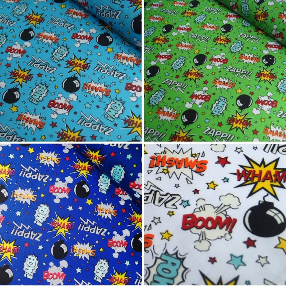 Polycotton Fabric Comic Book Sound Effect Cartoon Turquoise