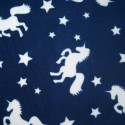 Navy Unicorn Silhouettes & Stars Print Polar Fleece Anti Pil Fabric