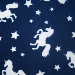 Navy Unicorn Silhouettes & Stars Print Polar Fleece Anti Pil Fabric