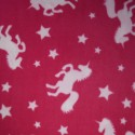 Cerise Unicorn Silhouettes & Stars Print Polar Fleece Anti Pil Fabric