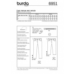 Burda Style Plus Size Trousers Cropped Fabric Sewing Pattern 6951
