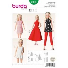 Burda Dress Dolls Clothes Accessories Fabric Sewing Pattern 6960