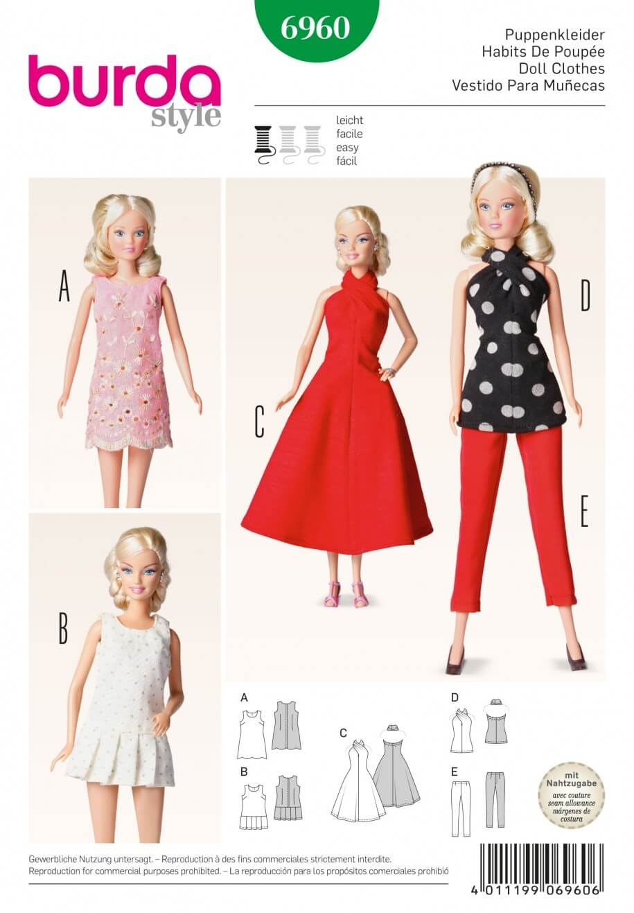 Burda Dress Dolls Clothes Accessories Fabric Sewing Pattern 6960