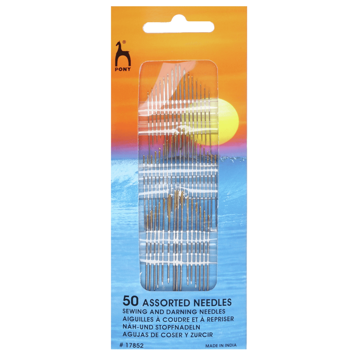 50 x Pony Assorted Gold Eye Sewing Needles