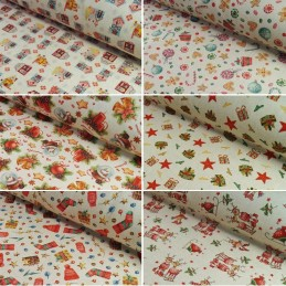Cotton Linen Look Fabric Christmas Traditional Collection 135cm Wide