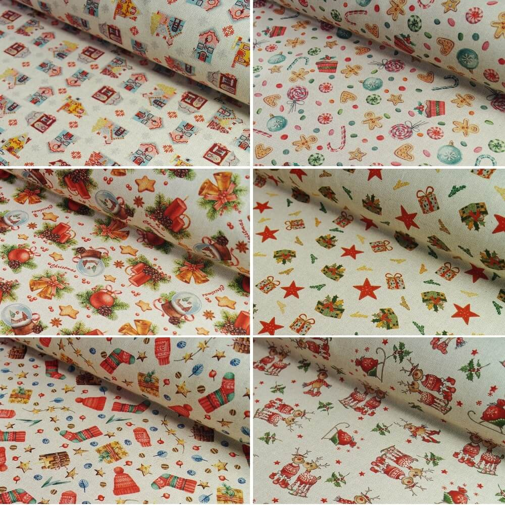 100% Cotton Linen Look Fabric Christmas Traditional Stocking Stars