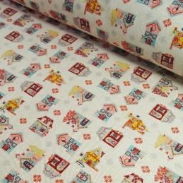 100% Cotton Linen Look Fabric Christmas Traditional Christmas Houses