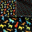 100% Cotton Patchwork Fabric Colourful Pets Dogs Cats Animals Paw Prints