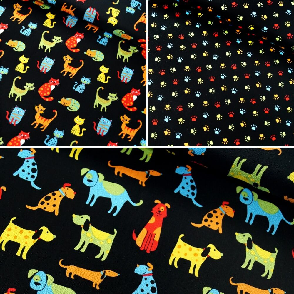 100% Cotton Patchwork Fabric Colourful Pets Dogs Cats Animals Paw Prints Col. 101 Cats