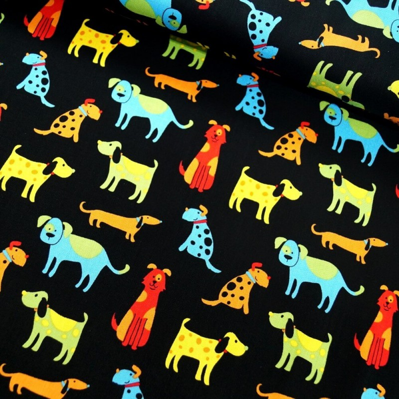 100% Cotton Patchwork Fabric Colourful Pets Dogs Cats Animals Paw Prints Col. 103 Dogs