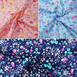 100% Cotton Poplin Fabric Rose & Hubble Colourful Floral Flower Garden Petals