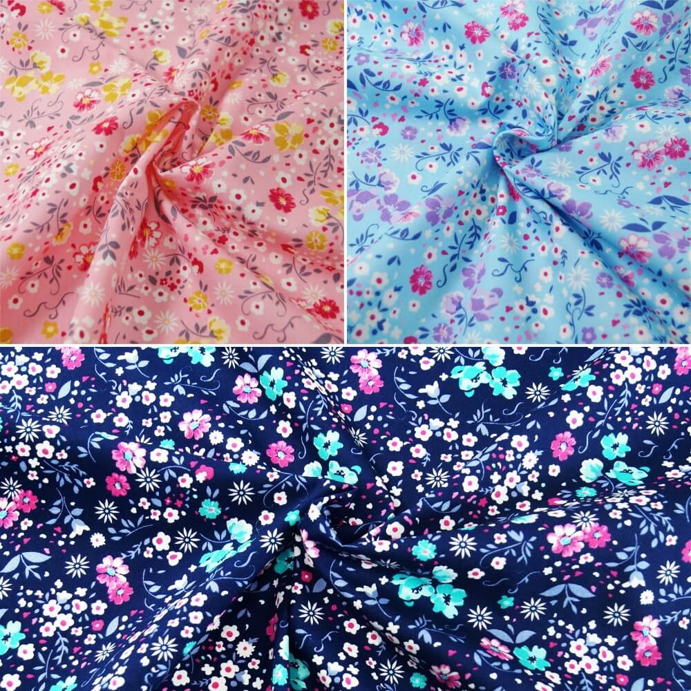 100% Cotton Poplin Fabric Rose & Hubble Colourful Floral Flower Garden Petals Sky Blue