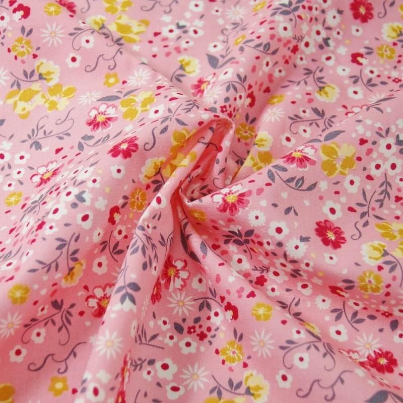 100% Cotton Poplin Fabric Rose & Hubble Colourful Floral Flower Garden Petals Pink