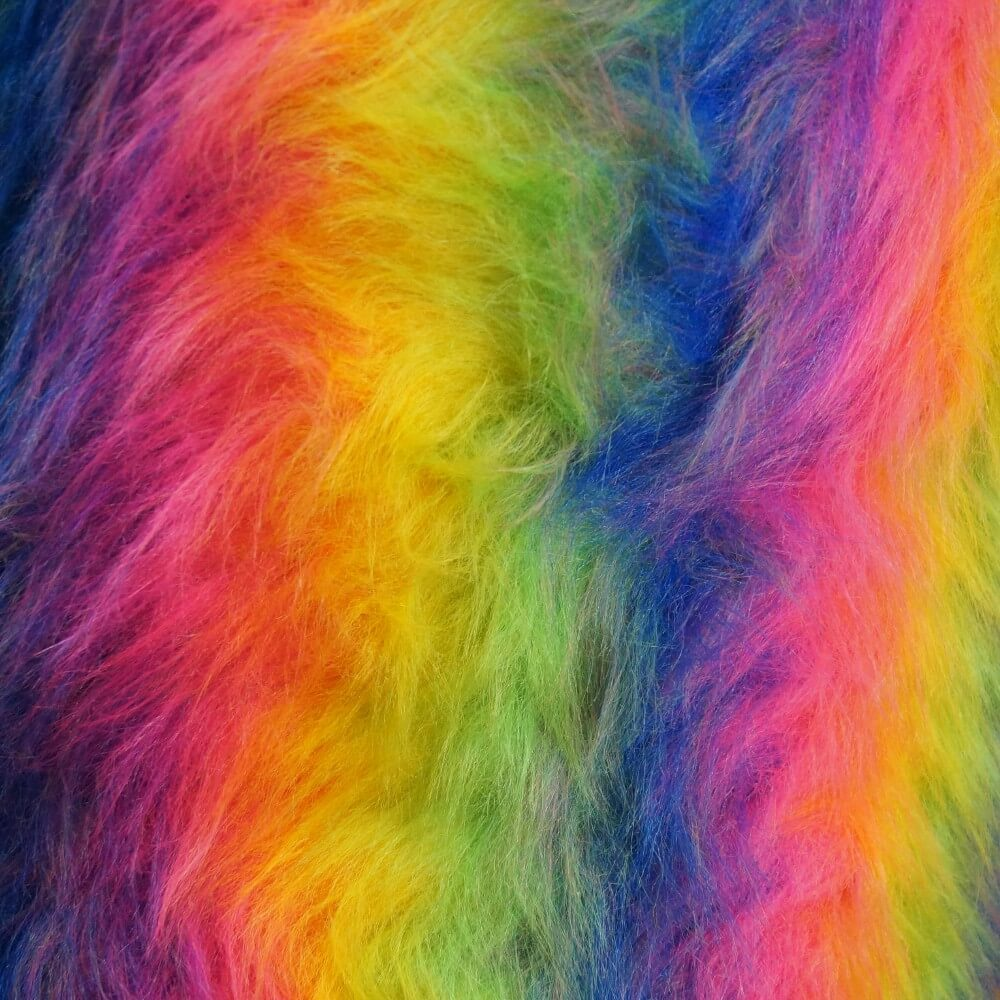 Rainbow Fur Long Haired Cuddle Toy Fur Unicorn 150cm Wide