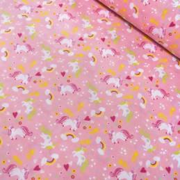 Polycotton Fabric My Little Unicorn Rainbow Stars & Hearts Pink