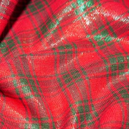 Cotton Lurex Fabric Red & Green Tartan Checks Checked Christmas Festive (3)