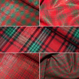 Cotton Lurex Christmas Xmas Fabric Red & Green Tartan Checks Checked Festive