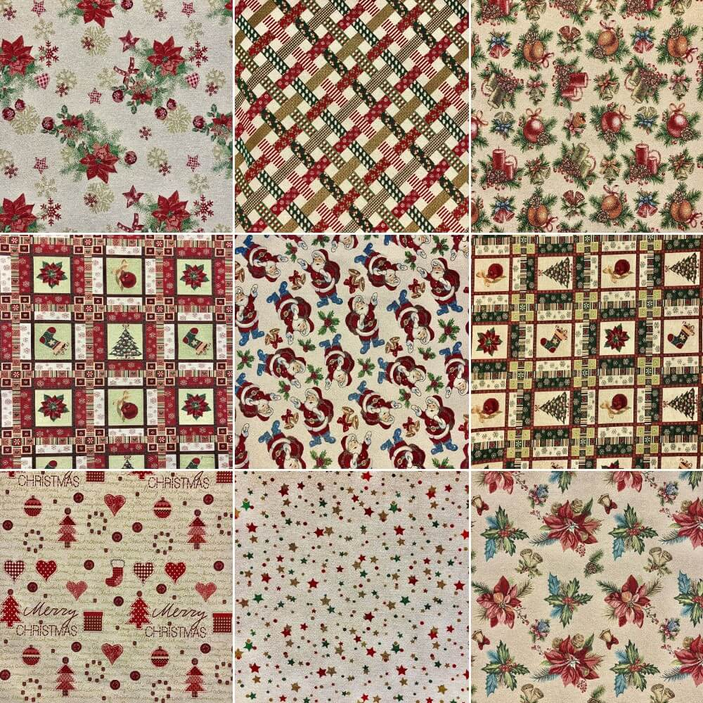 Christmas Tapestry New World Fabric Ideal For Upholstery Curtains Poinsettia's & Snowflakes