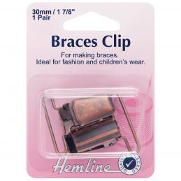 Hemline 30mm Brace Clips 1 Pair Silver Or Bronze Fashion Childrens Braces