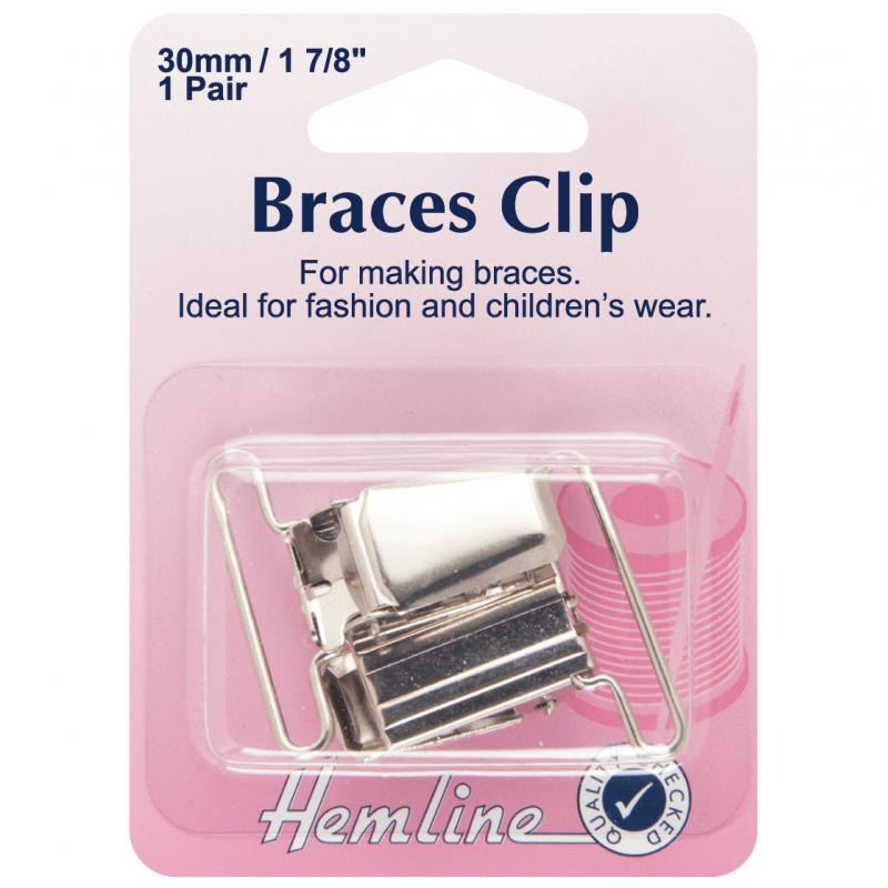 Silver Hemline Brace Clips 1 Pair 30mm