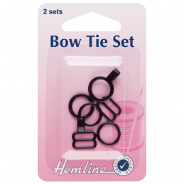 Black Hemline Bow Tie Fastening And Attachment 2 Sets