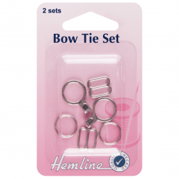 Silver Hemline Bow Tie Fastening And Attachment 2 Sets