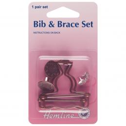 Hemline 40mm Bib and Brace Set 1 Pair In Bronze Or Silver Dungaree