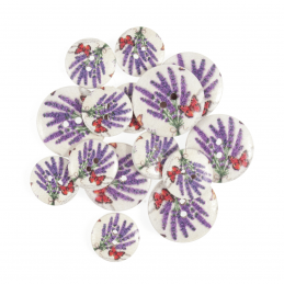 15 x Assorted Lavender Garden Butterfly Wooden Craft Buttons 18mm - 25mm