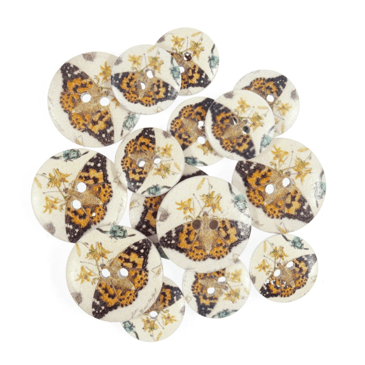 15 x Assorted Butterfly On Leaf Wooden Craft Buttons 18mm - 25mm