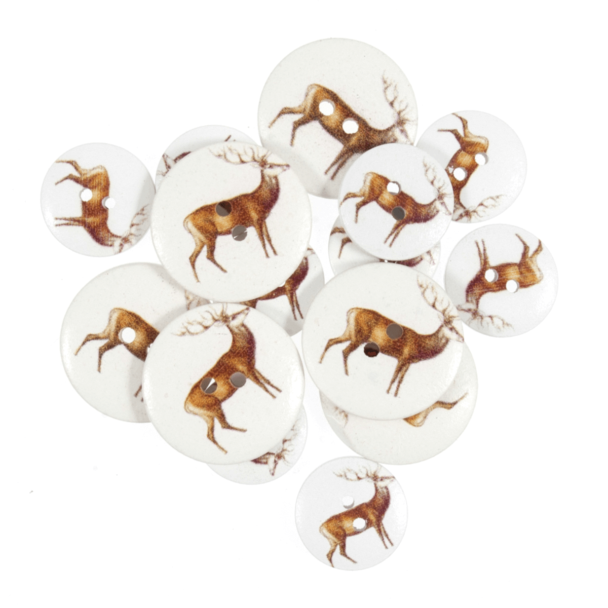 Assorted Standing Deer Wooden Buttons 15 Pack Sizes From 15mm - 25mm