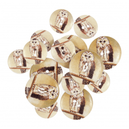 Assorted Wooden Buttons 15 Pack Sizes From 15mm - 25mm