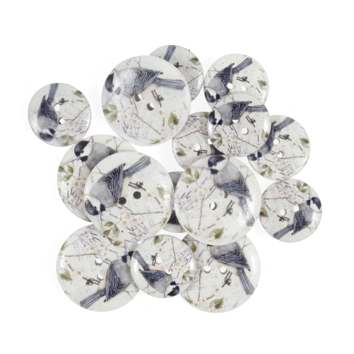 Assorted Floral Bird Wooden Buttons 15 Pack Sizes From 15mm - 25mm