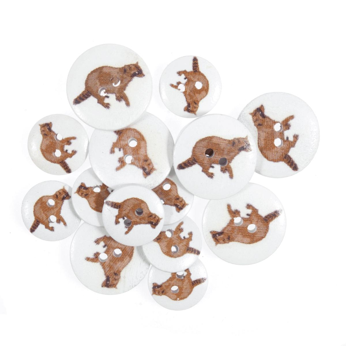15 x Assorted Brown Raccoon Wooden Craft Buttons 18mm - 25mm