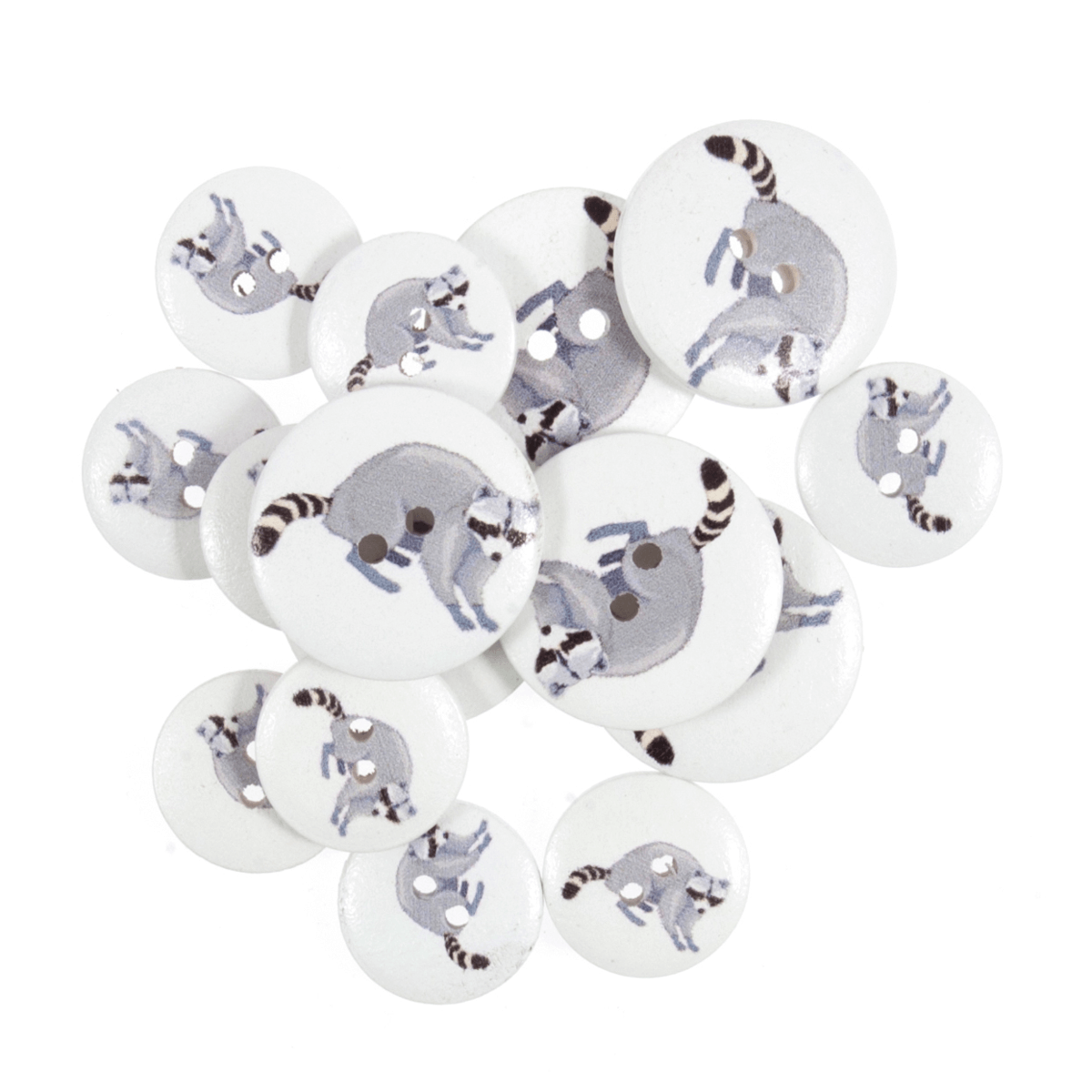 15 x Assorted Grey Raccoons Wooden Craft Buttons 18mm - 25mm
