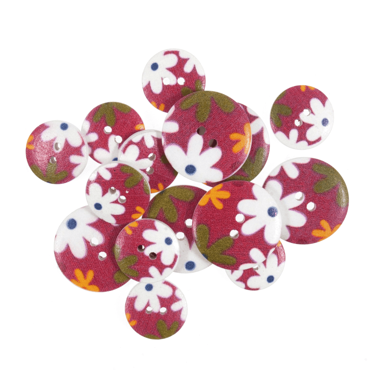 15 x Assorted Daisy Delight Wooden Craft Buttons 18mm - 25mm