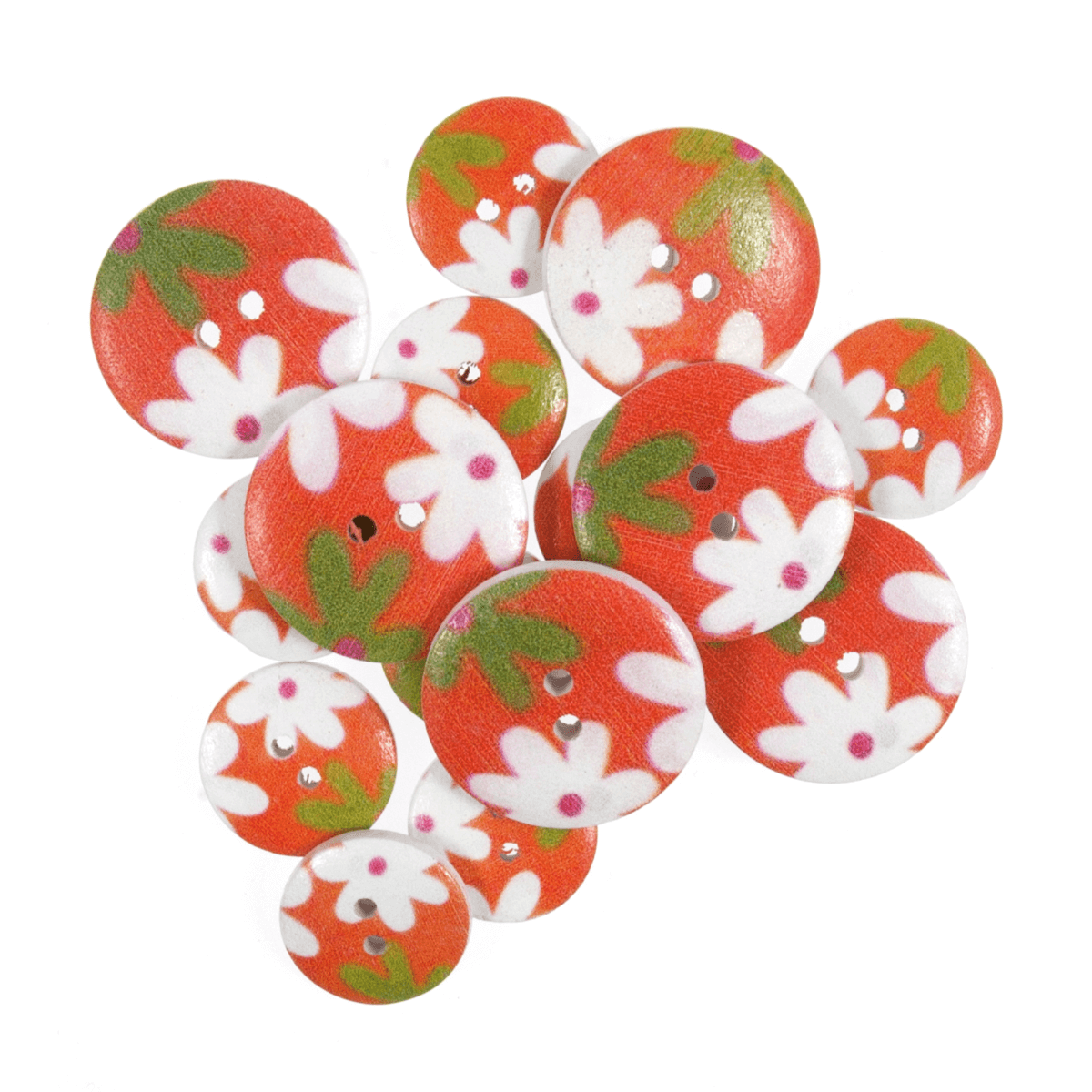 15 x Assorted Daisy Delight Pink Wooden Craft Buttons 18mm - 25mm