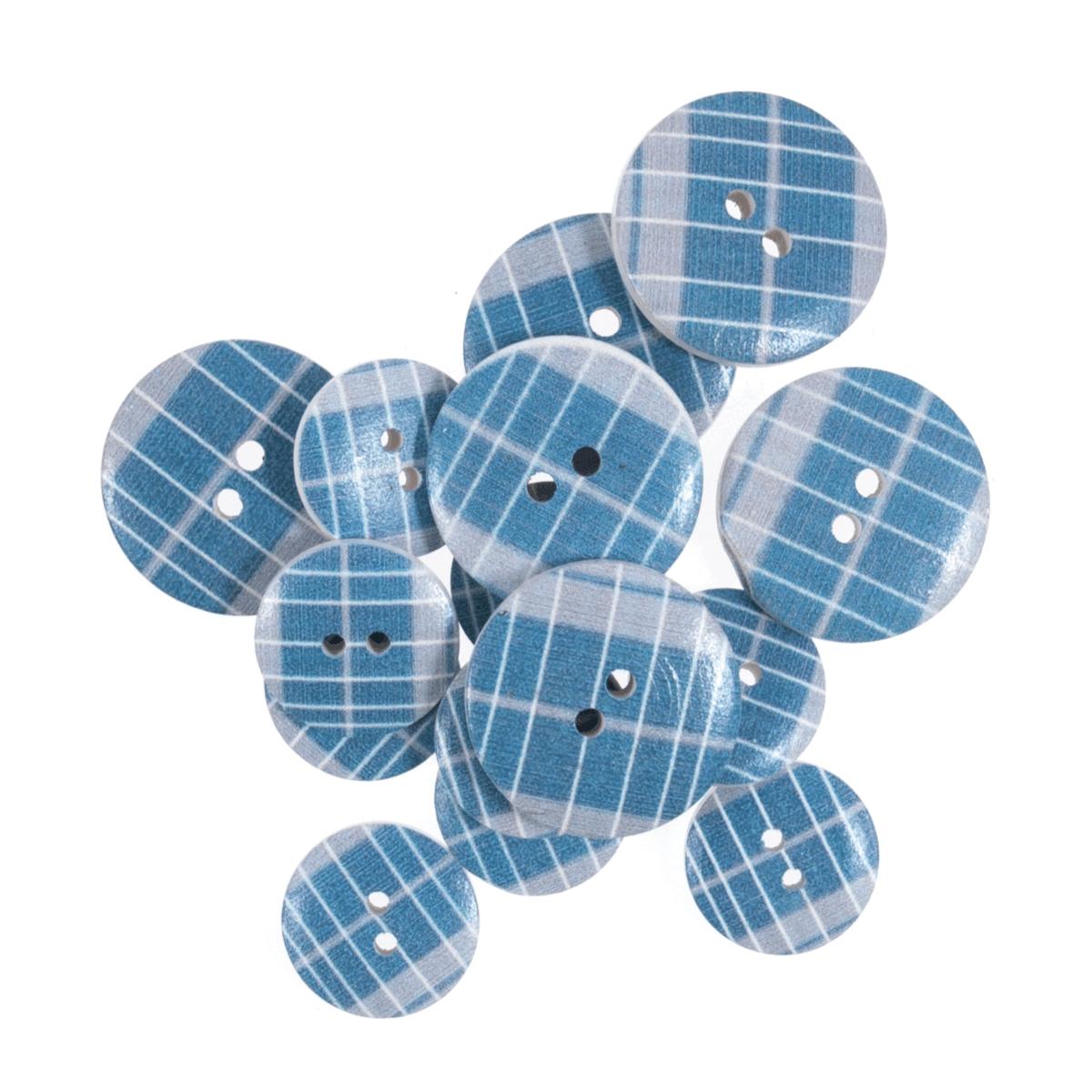 15 x Assorted Blue Line Stripe Wooden Craft Buttons 18mm - 25mm