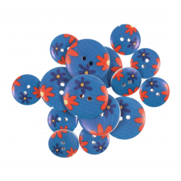 15 x Assorted Daisy Delight Blue Wooden Craft Buttons 18mm - 25mm