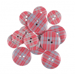 15 x Assorted Red Line Stripe Wooden Craft Buttons 18mm - 25mm