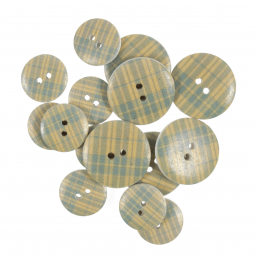 15 x Assorted Yellow Line Stripe Wooden Craft Buttons 18mm - 25mm